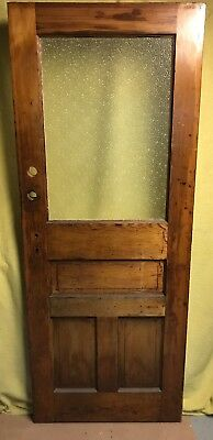 Antique Craftsman Exterior Wood French Entry Door /w Diamond Glass 30x77
