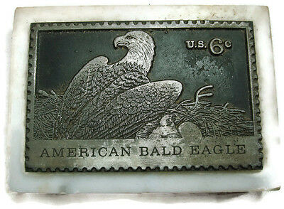 American Bald Eagle 6 Cent Stamp Marble & Pewter Paperweight