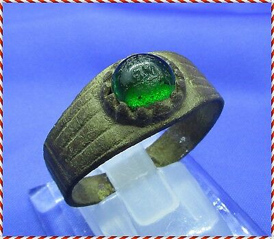 Ancient Bronze Roman Ring With Green Stone