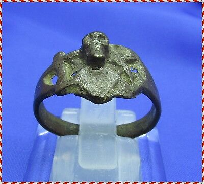 Ancient Bronze Roman Ring Cross And Skull