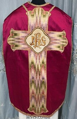 INCREDIBLE ART DECO - RED CHASUBLE - vestment - Look at the work on this one!