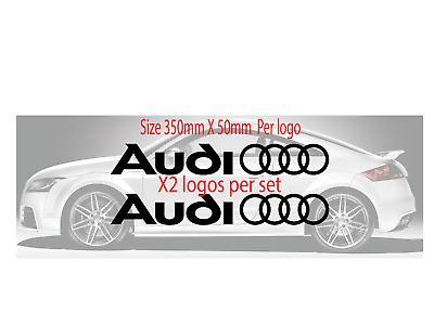 Audi Logo Rings Car Vinyl Stickers / Decals Side Skirt Graphics 24 Colours