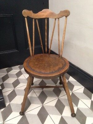 Rare Antique Stick Back Wooden Chair on Roller Casters