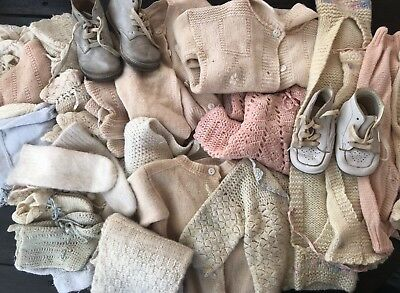 Large Lot Vintage Knit Wool Baby Doll Clothes Sweaters Shrugs Booties Hats +