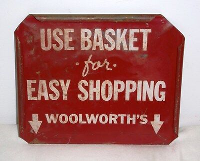 """Woolworth's Original Use Basket for Easy Shopping Double Sided Tin Sign - 7""""x6"""""""