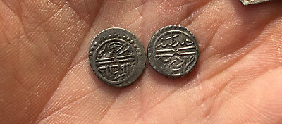 N° 4 Islamic unknown silver coins (2 pieces) light dark patina