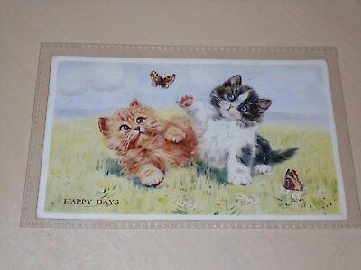 Vintage Mabel Gear Cat Postcard - Happy Days - Vgc
