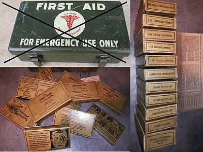 Lot Contenu First Aid 12U + Etiquette  Jeep Willys Us Ww2 Medical Secours