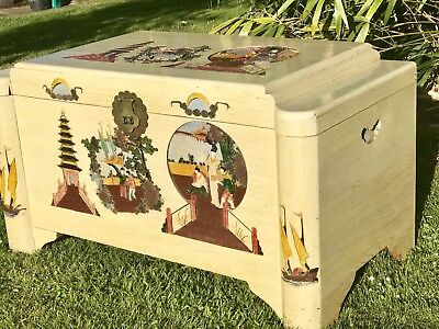 Vintage Asian Carved Camphor Cream Lacquered Blanket Chest Trunk Toy, Table 50's