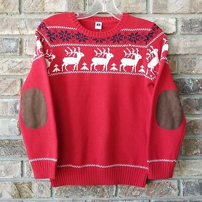 Janie & Jack Size 8 Sweater Red Reindeer Brown Elbow Patches NEW