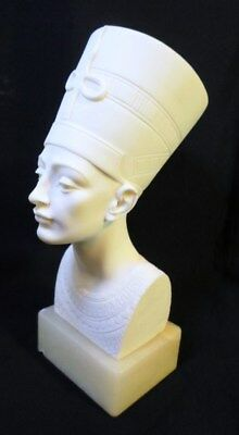 """Bust Of NEFERTITI EGYPTIAN QUEEN ALABASTER on ONYX Base by Giannelli Italy 7.5"""""""