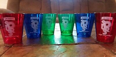 Set of 6 Smirnoff Sours Acrylic Shot Glasses NEW Red, Blue & Green