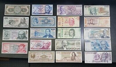 Lot of 19 Mexican Banknotes Mexico Uncirculated Pesos #40