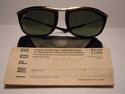 RAY BAN Olympian I 4 3/4 Near Mint Vintage by B&L U.S.A. With case & Paper