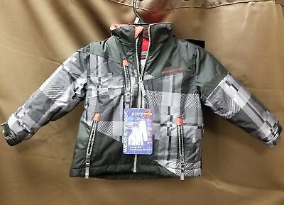 NEW Weatherproof Boys Michael Plaid Black/Red Coat Jacket Size 3T