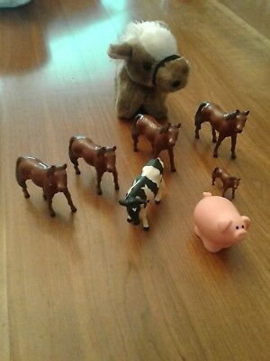 Vimtage Farm Animal Toy LOT x8 ERTL Horses & Cow Russ Stuffed Pony 1990 F-P Pig