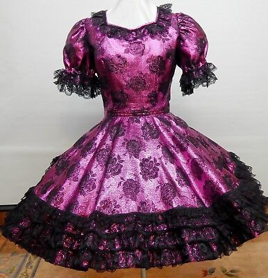 Fuchsia And Black Lame' Party Square Dance Dress