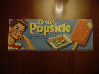 Vintage 50-50 Popsicle Paper Store Advertising Sign / Lowe Litho 1954 / Smaller