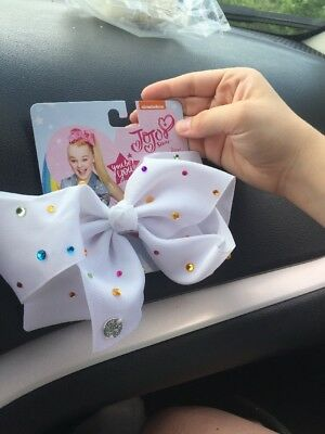 Nickelodeon JoJo Siwa You Be You White Large Bow with Colored Sequins