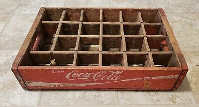 Vintage Wood Coca Cola Coke crate box red w/ wood dividers.