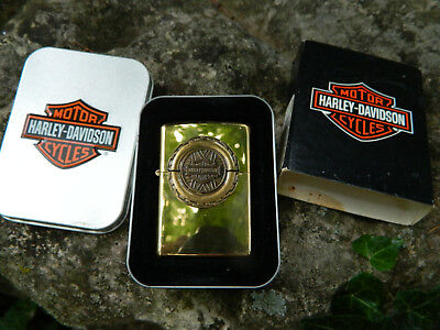 1999 NOS Brass Unfired Zippo Lighter Harley Davidson Tire and Engine Decorated