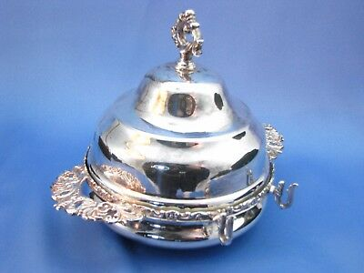 Vintage Rogers Silverplate Round Handled Covered Butter Dish Tray