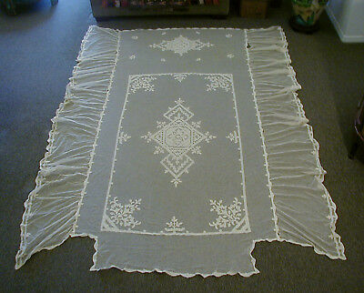 """ANTIQUE VINTAGE IVORY TAMBOUR NET LACE BEDSPREAD COVER W/EMBROIDERY 104"""" x 76"""""""