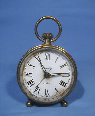 Deco Style Chrome Peg Leg Alarm Clock - Luminous Hands - German - Works
