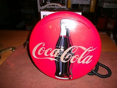 Vtg. (1995) Coca-Cola Round Wall Phone With Lights & Sounds