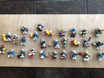 Lot Of 27 Vintage Schleich Smurf Figurines 60's, 70's, And 80's