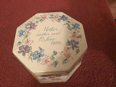 """Avon """"Mother is another word for Love"""" 1982 metal tin made in England"""
