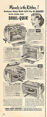 1952 vintage AD BROIL QUICK Very Early INFRA-RED OVENS BROILERS Rotisserie 92416