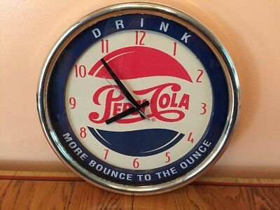 "Vintage Pepsi Cola Wall Clock ""MORE BOUNCE TO THE OUNCE""With Second Hand Plastic"