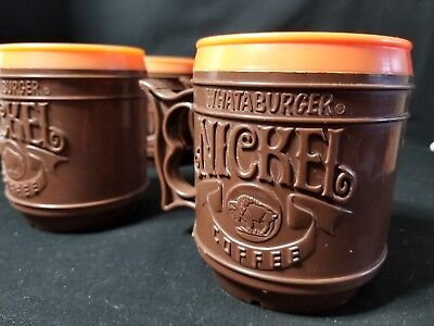 VTG 80's Whataburger Buffalo Nickel Brown Orange Coffee Mug Plastic Travel Cup 4