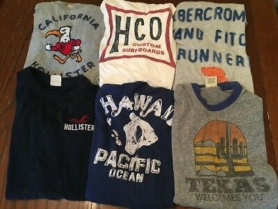 Men's Abercrombie & Fitch and Hollister Lot of 6 tee t shirts (Medium and Large)