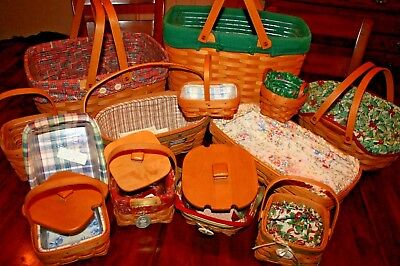 Longaberger Baskets and Accessories Lot of 46 Pieces