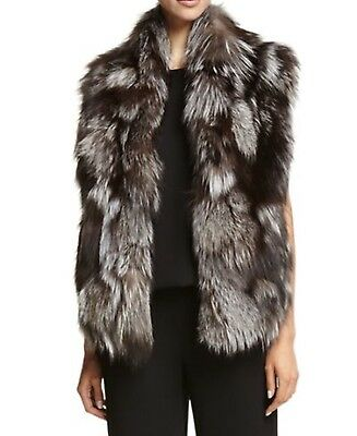 NWT, Vince Silver Fox Fur Vest Size L,100% Authentic Upscale Stunning, Must Have