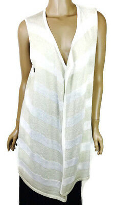 Chico's Travelers Collection New Long White/Gold Stripe Sweater Vest NWT