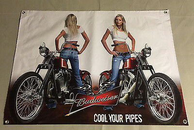Budweiser beer bottle cap can banner girl tshirt jean motorcycle model poster A9