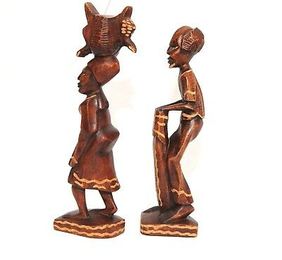 African Carved Wood Folk Art Figures Man Woman Statue Pair Ethnic Wooden Vtg Set