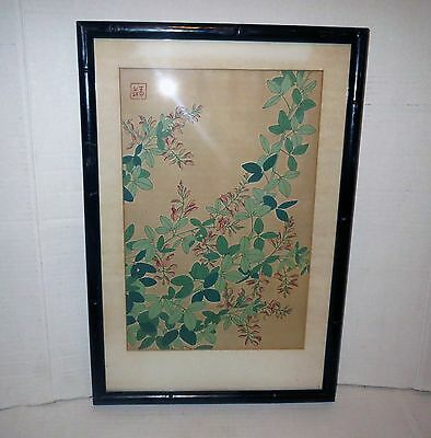 ANTIQUE JAPANESE Block Print Scroll Painting - SIGNED GALLERY FRAMED