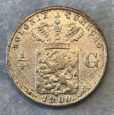 Curacao Silver 1/4 Gulden 1900-(U) Quenn Wilhelmina I One Year Type Only Scarce