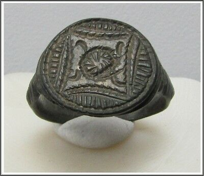 ** SHEILD **Ancient Bronze Legionary Roman Ring **AMAZING **