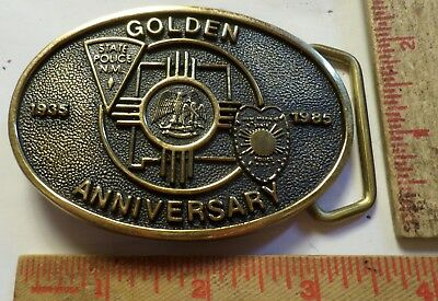 1985 brass New Mexico State Police buckle 50 year anniversary cop PD memorabilia
