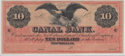 Crisp/Uncirculated 1840's-1850's $10 New Orleans Canal Note (Red/Eagle)...NR!