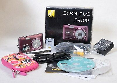Nikon COOLPIX S4100 5X Zoom Purple Touchscreen & Extras Tested Good Read Below