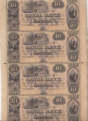 Crisp/Uncirculated/Uncut Sheet of 4 1850's $10 New Orleans Canal Notes...NR!
