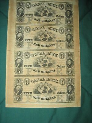 Crisp/Uncirculated/Uncut Sheet 0f 4 1850's $5 New Orleans Canal Notes...NR!