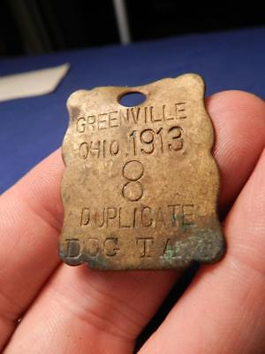 1913 Dog Tax License Tag Greenville Ohio Duplicated