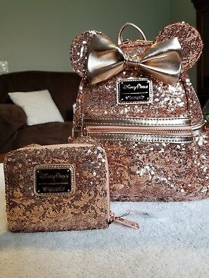 Disney Parks Disneyland Loungefly Rose Gold Sequin Backpack and Wallet SOLD OUT!